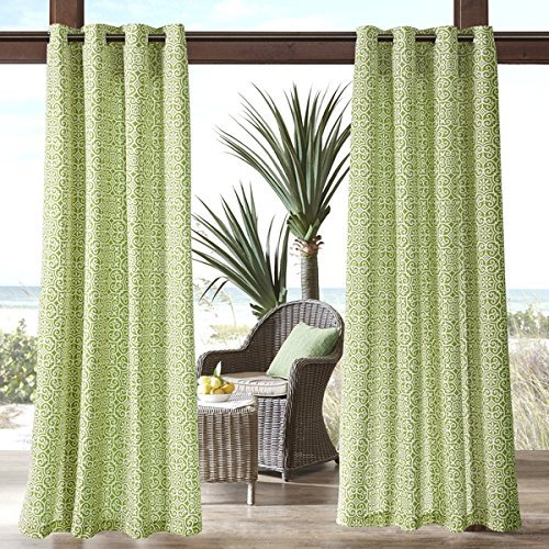1pc 84 Green Geometric Pattern Gazebo Curtain Single Panel, Outdoor Pergola Drapes Porch Deck Cabana Patio Screen Entrance Sunroom Lanai, Green Fretwork Pattern Rugby Colors Outside