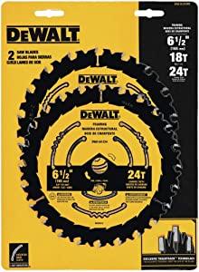 DEWALT DWA1612CMB 6-1/2-Inch 18/24-Tooth Circular Saw Blade, Combo 2-Pack