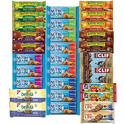 - Healthy Snacks, Variety Pack, Breakfast Bars, Including Nature Valley, Belvita, Clif, Nutri Grain, Chewy and Fiber One