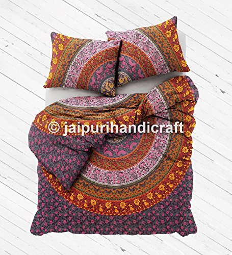 Exclusive beautiful Bohemian traditional Indian mandala Duvet Queen Quilt WITH PILLOWCASES By
