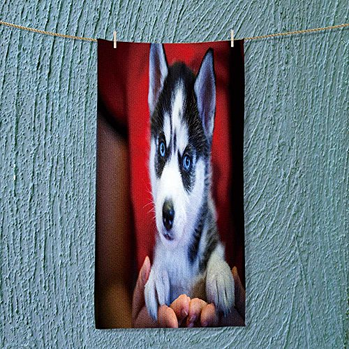 Custom Cotton Microfiber Ultra Soft Towels/Hand Towel,Siberian husky puppy with blue eyes Unisex towels for Beach, Pool or Bath!(11.8x27.5 INCH)