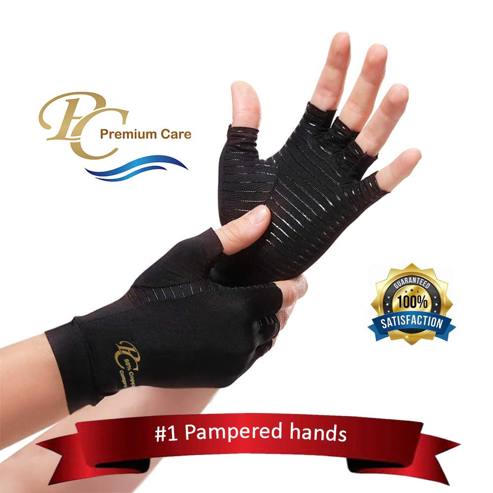 Premium Copper Compression Arthritis Gloves - Highest 88% Infused Copper Content Available #1 Best Copper Infused Glove for Women and Men. Pain Relief and Healing for Arthritis, Carpal Tunnel (Medium) by Premium Care LLC