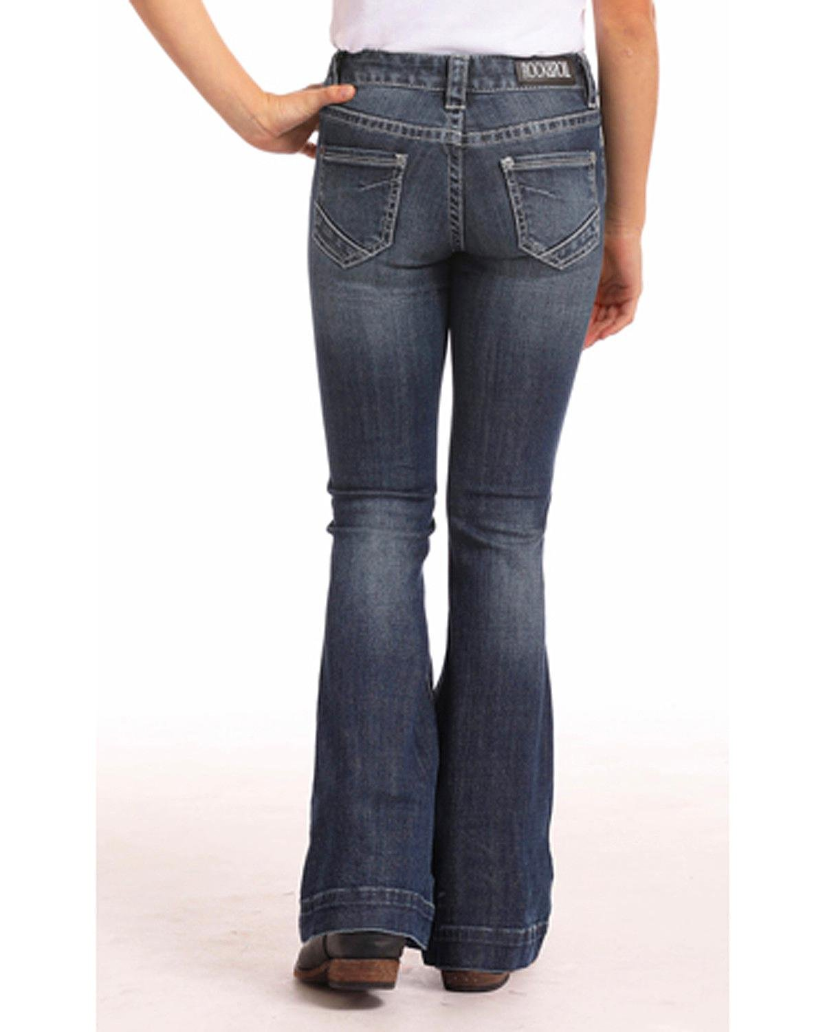 Rock & Roll Cowgirl Girls' and Basic Stitch Trouser Jeans (4-16) Indigo 7