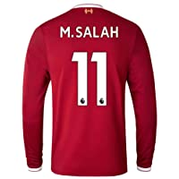 Sneyke Liverpool M Salah 11 2017-2018 Home Long Sleeve Jersey Men's Color Red Size M
