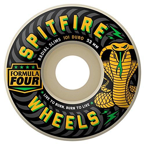 マオリ擬人化経済Spitfire F4 99D Radial Slim Unisex Adult Set of 4 Skateboard Wheels, White