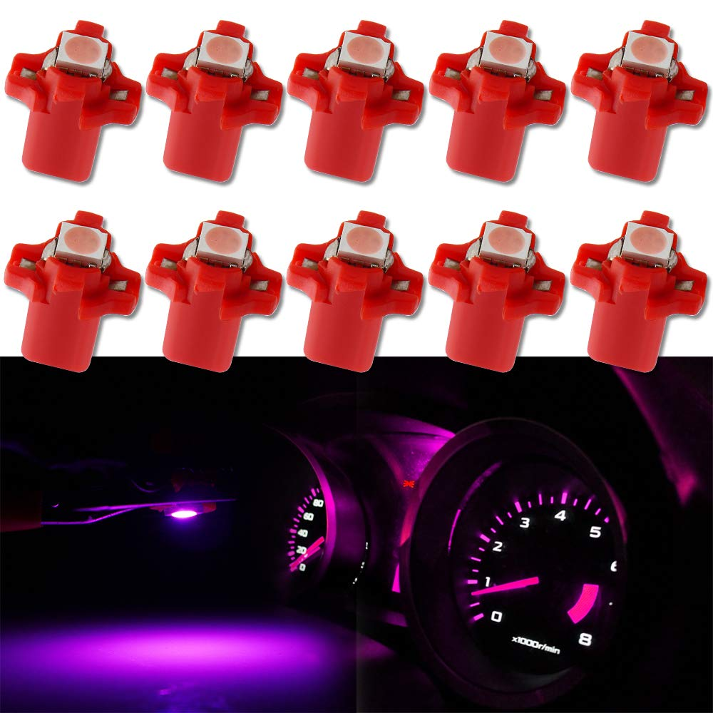 GLL 10pcs Ice Blue T5 LED Bulbs B8.5 LED Dashboard Bulbs 1-5050-SMD for Car Interior Speedometer Dashboard Instrument Gauge Cluster Indicator Light Panel Dash Lamp 2-Year Warranty