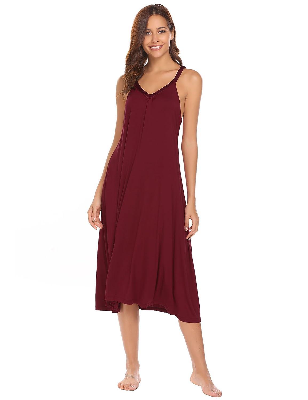 Ekouaer Sleeveless Nightgown Women's V Neck Sleepwear Dress Satin Trim Chemise S-XXL AMK008358