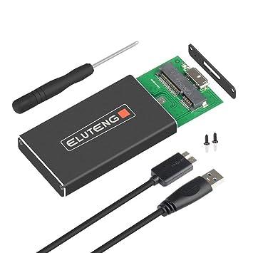 ELUTENG Cajas mSATA SSD USB 3.0 Soporte UASP Adaptador Aluminio Enclosure mSATA 30x50/30x30 Caja de Adaptador(Negro)