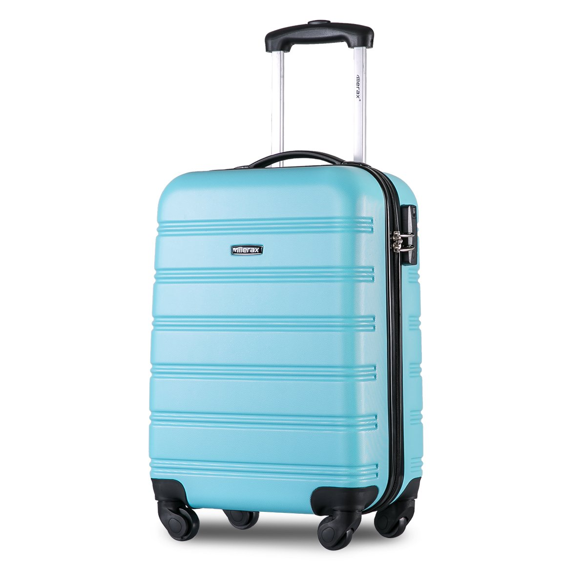 Merax ® Super Lightweight ABS Hard Shell Travel Carry On Cabin Hand Luggage Suitcase with 4 Wheels, Approved for Ryanair, Easyjet, British Airways, Virgin Atlantic, Flybe and Many More (Sky Blue)
