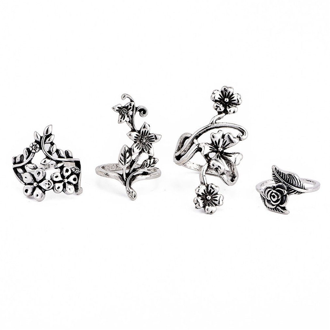 Dolland Vintage Knuckle Ring Set Rhinestone Joint Knuckle Nail Ring Set