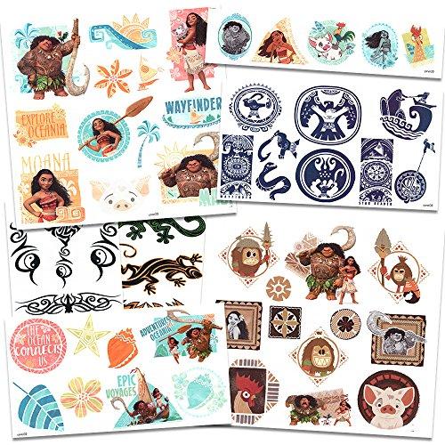 Disney moana tattoos 50 assorted temporary tattoos with for Moana tattoo ideas