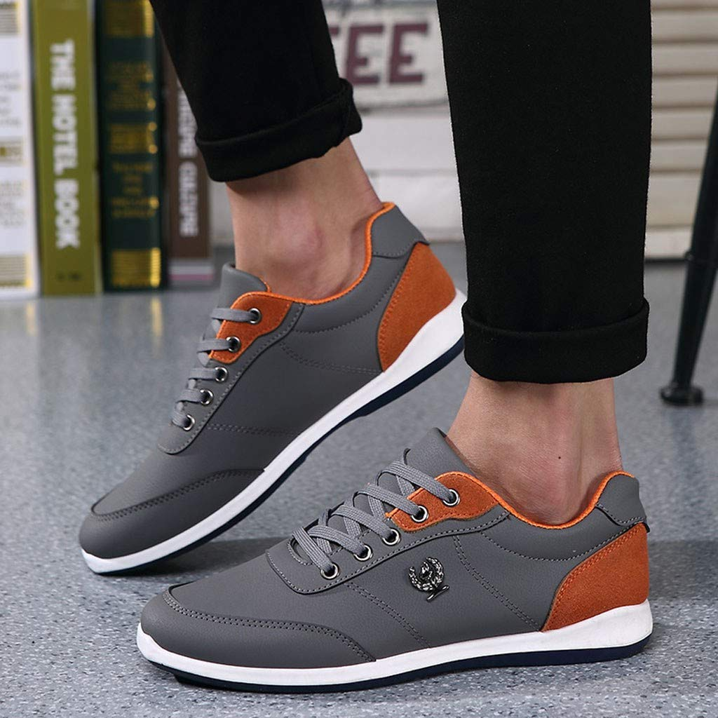 Lloopyting Mens Pu Solid Color Causal Shoes Light Comfort for Walking Gym Lightweight Fashion Sneakers Lace-Up Flat Shoes Gray by Lloopyting (Image #2)
