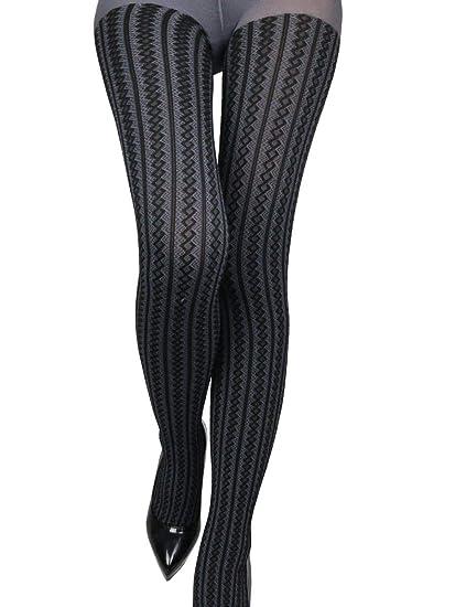 496ffeb49f7dd Women Warm Soft Jacquard Diamond Line Argyle Pattern Tights Pantyhose  Stockings, One Size (grey