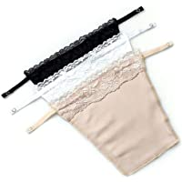 WuWoWo 3PCS Lady Lace Clip-on Mock Camisole Bra Insert Overlay Modesty Panel