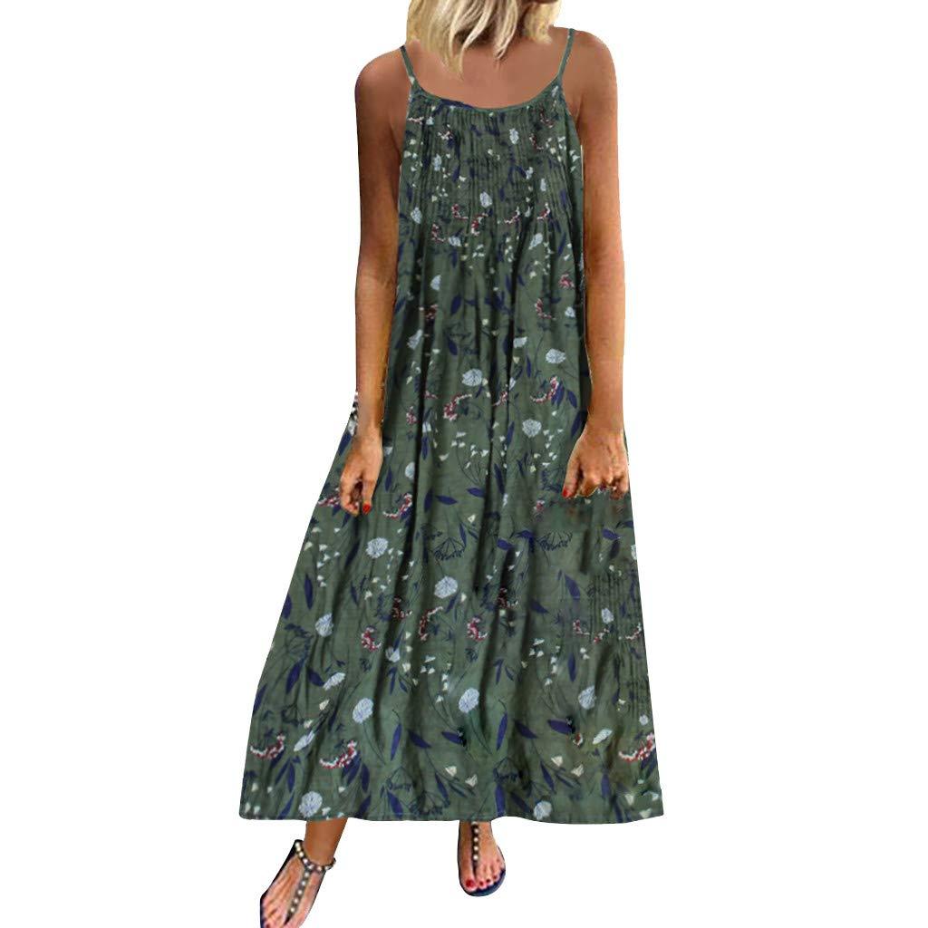 Lomsarsh Women's Dress, Ladies Vintage Bohemian Print Floral Shoulder Strap Sleeveless Loose Dresses O-Neck Straps Maxi Dress Summer Dress Casual Summer Short Mini Dress Sundresses