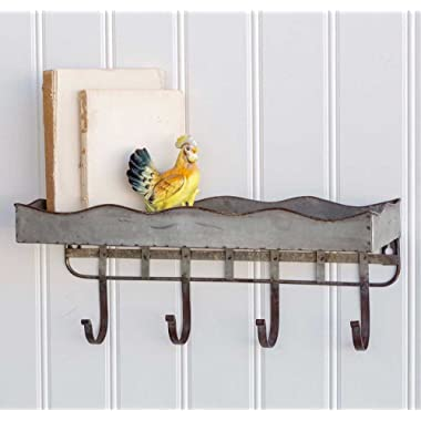 Metal Wall Shelf décor with 4 Metal Hooks and Upper Shelf for Storage. Perfect Home Decor for Your Entryway, Laundry Room Kitchen, Bathroom, Hallway, Living Room, Bedroom and More. 18  x 6  x 7½
