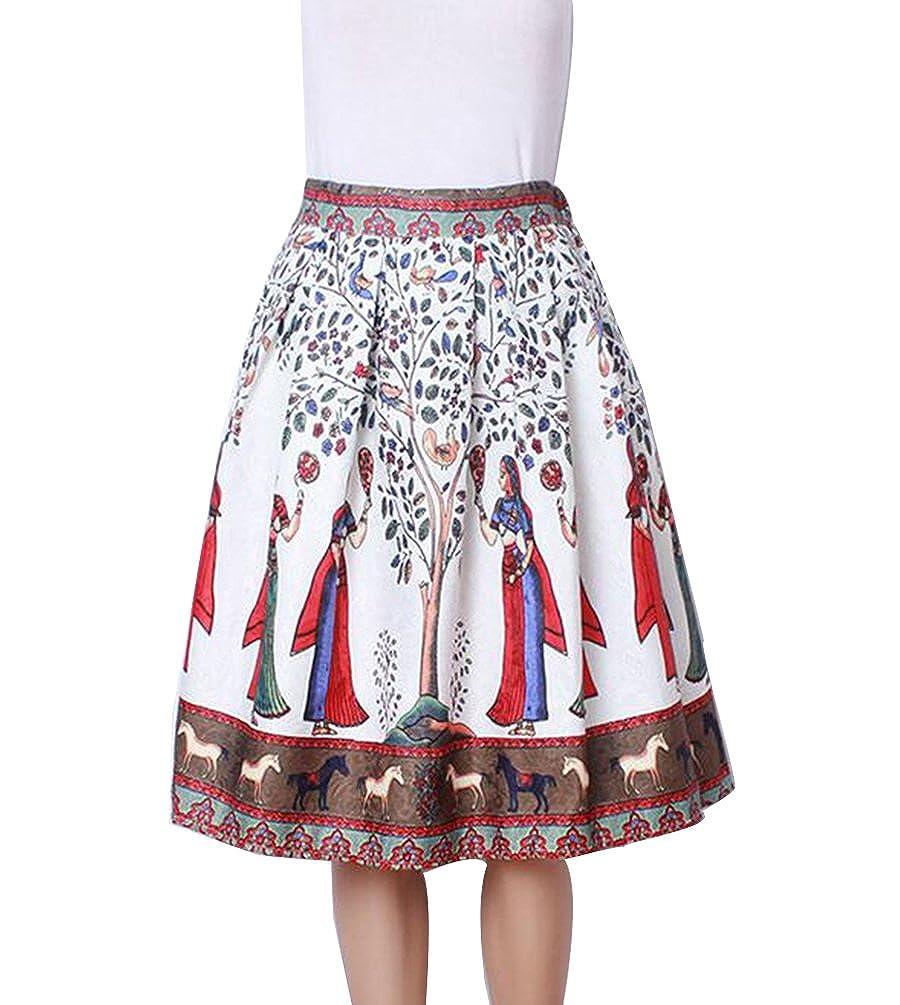 ZKOO Calle Las Mujeres De Moda Cintura Elástico Llamarada Plisada ...