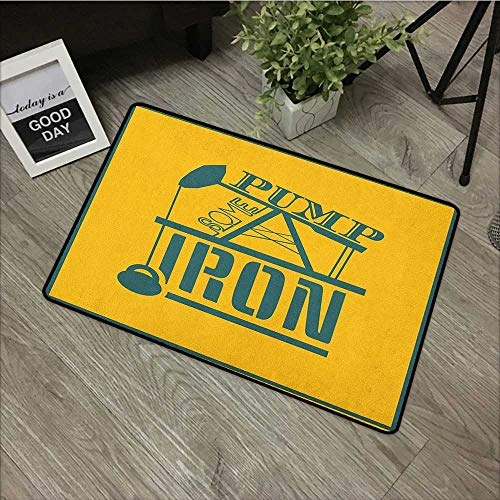 Interior mat W31 x L47 INCH Fitness,Pump Some Iron Quote in Vintage Frame Oil Pump Power Lifting Weight Icons, Petrol Blue Marigold Natural dye printing to protect your baby's skin Non-slip Door Mat C ()