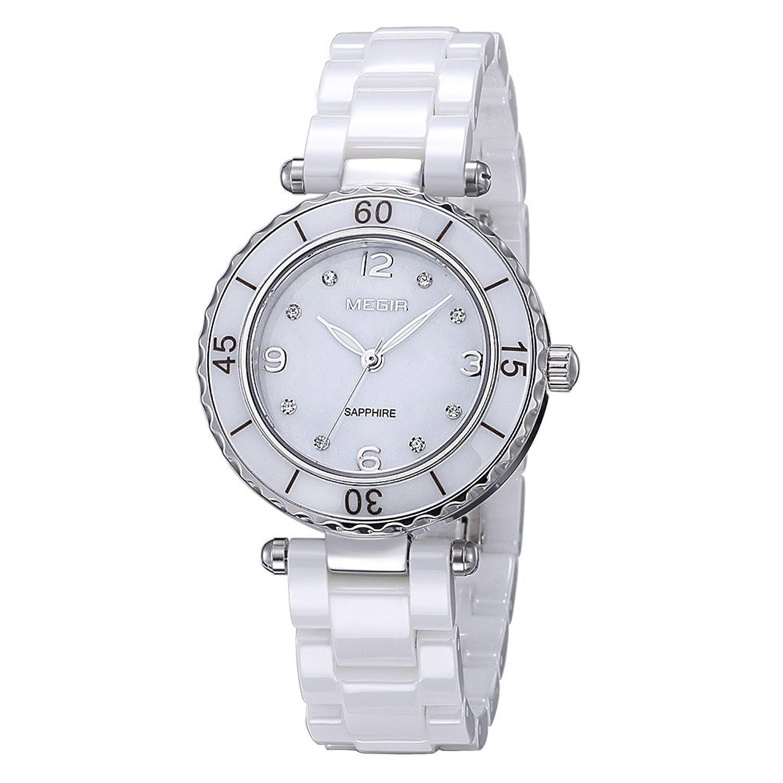 Damen Fashion Diamant weiß elegante Uhren mit Keramik Armband - Zifferblatt Luxus akzentuierten Kleid