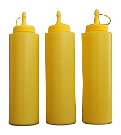 greehome – Botella Amarillo 350 ML Gastro Juego de 3 para Mostaza Mayo dispensador de Salsa