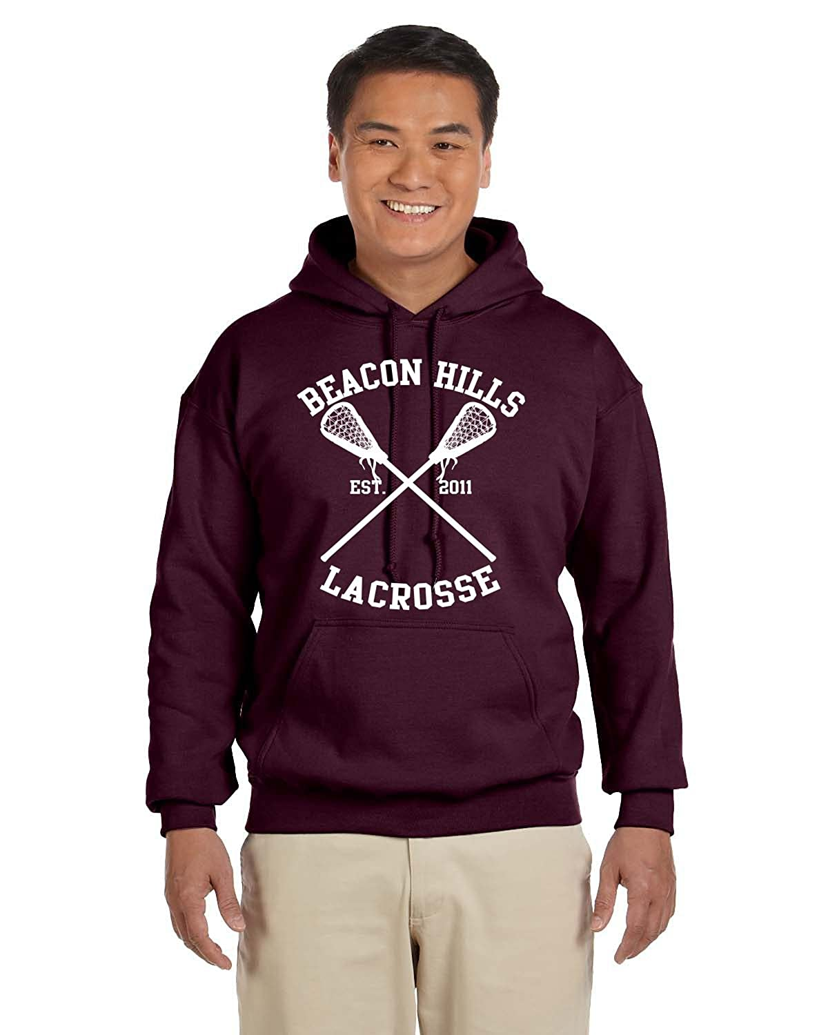 Allntrends Hoodie Bacon Hills Lacrosse Player Name and Number Maroon Color