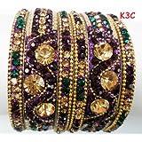 Tyagi Craft Indian Bollywood Bridal Designer Crystal Asian Jewellery Purple Bangles Kada Bracelets