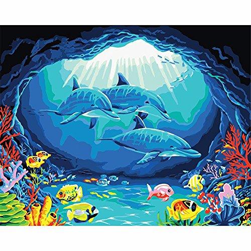 YANYANGXIN Bricolage peinture huile par numéro de peinture numérique,Kit,Suite pour les enfants, les étudiants, les adultes débutants avec Pinceaux et pigments acrylique,Wall Art-dauphins,Tissu