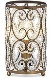 Illuminate Aurora 华丽古铜色复古风格圆柱形台灯,侧面带有优雅的螺旋串珠细节,金色/透明