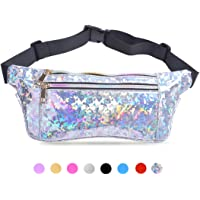 Suxman Holographic Fanny Pack for Women and Men, Fashion Cool Fanny Packs for Girls, Waterproof Shiny Waist Pack with Adjustable Belt for Festival, Travel, Hiking, Party