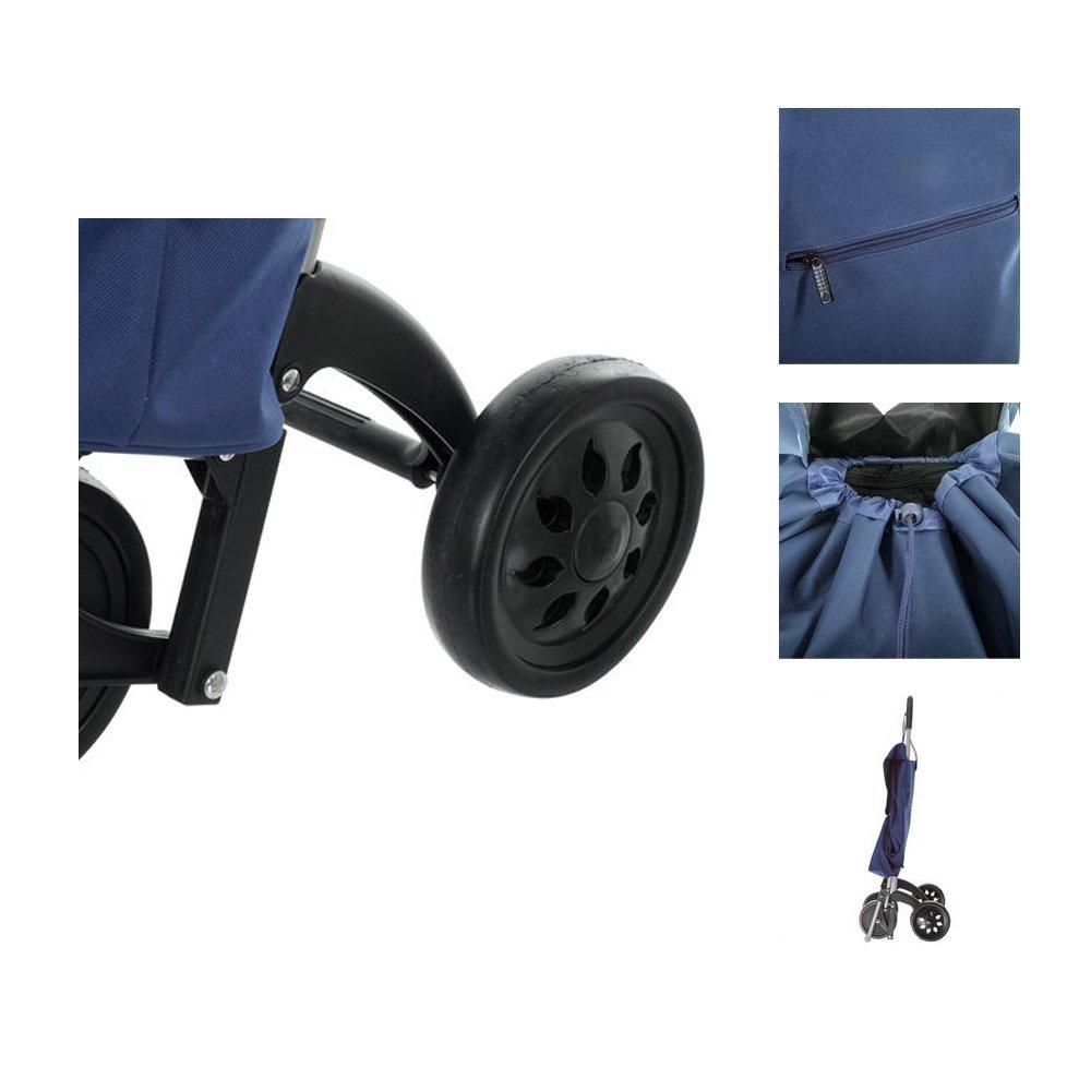 Chariot de course 4 roues nomade bleu