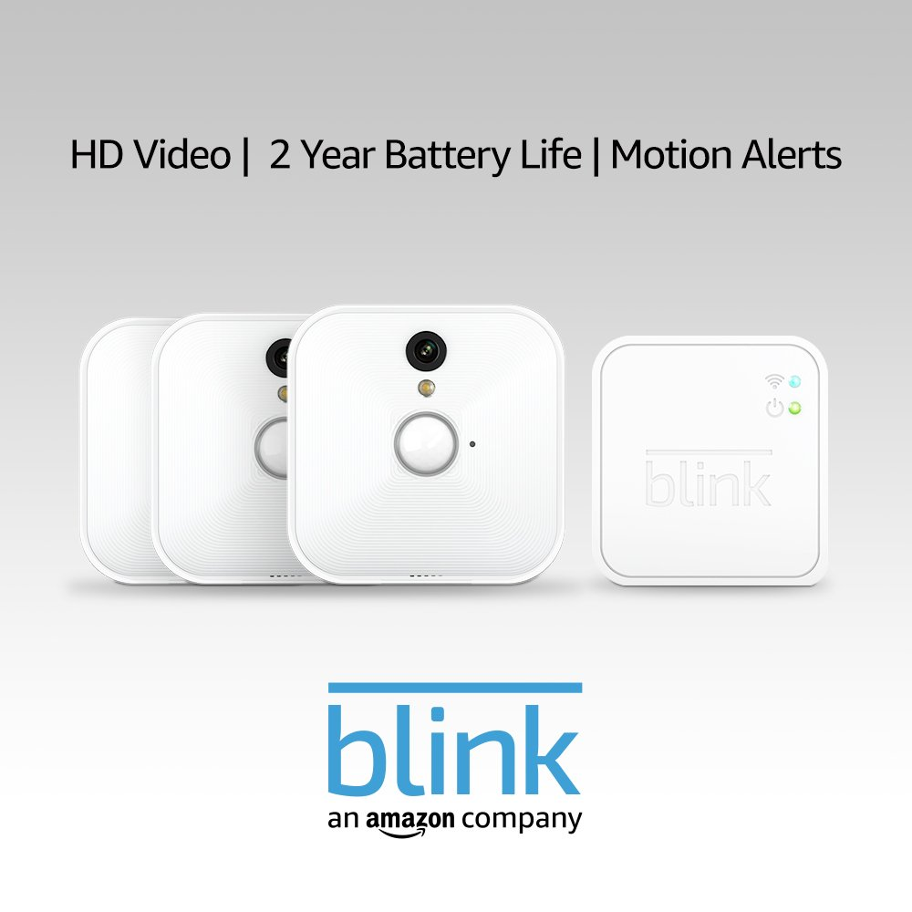 Blink Indoor Home Security Camera System with Motion Detection, HD Video, 2-Year Battery Life and Cloud Storage Included - 3 Camera Kit
