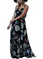 Sidefeel Women Floral Print V Neck Beach Boho Maxi Dress