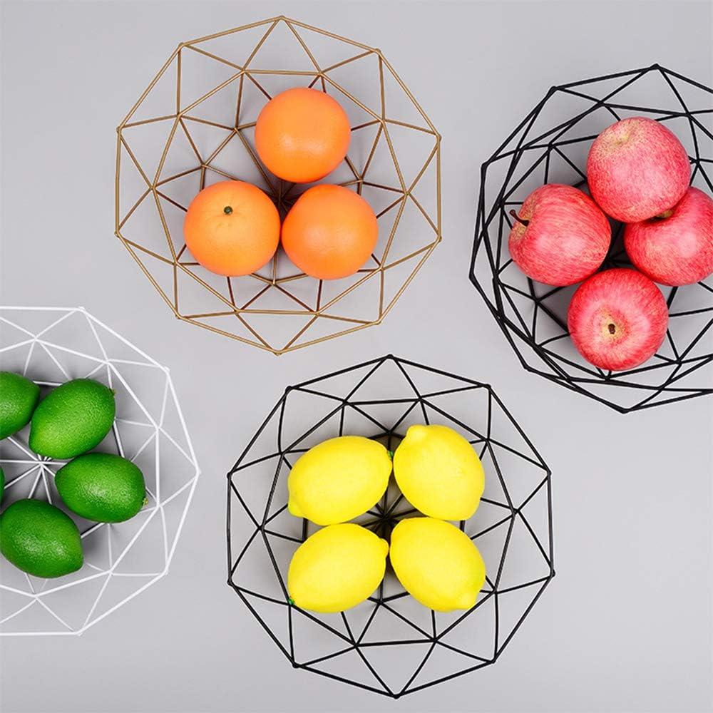 Wankd Frutero de alambre de metal, Estilo nórdico Hierro Forjado Cesta de Fruta Cuenco de Verduras Visualización de la Fruta Plato de Fruta Hueco, S