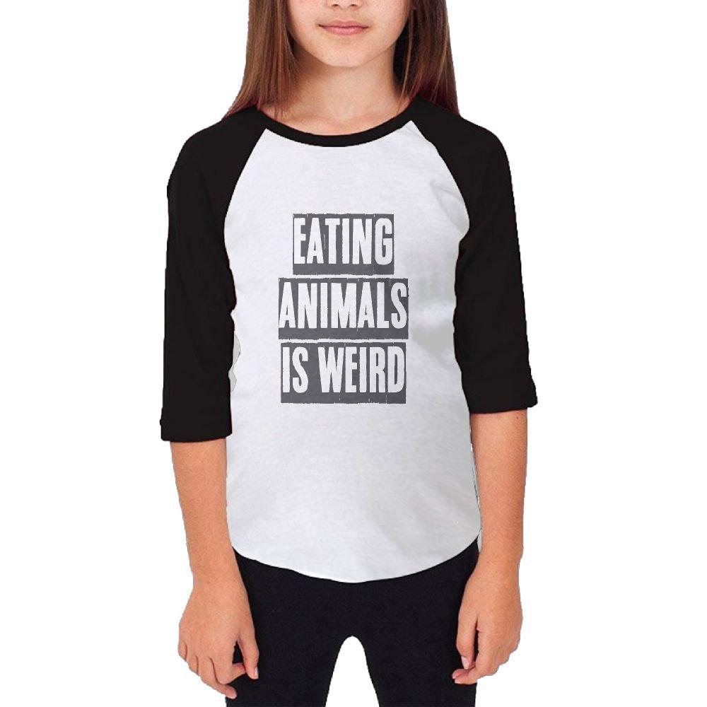 Jidfnjg Eating Animals is Weird RD Kids 3//4 Sleeves Raglan T Shirts Child Youth Slim Fit Sports Uniforms