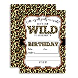 Leopard Print Wild Birthday Party Invitations, Ten 5''x7'' Fill In Cards with 10 White Envelopes by AmandaCreation Perfect for Teen and Tween Birthdays, Even Adults!