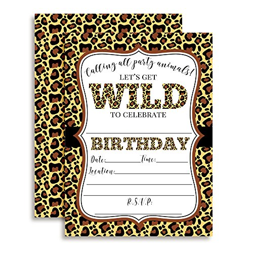 "Leopard Print Wild Birthday Party Invitations, 20 5""x7"" Fill In Cards with Twenty White Envelopes by AmandaCreation Perfect for Teen and Tween Birthdays, Even Adults!"