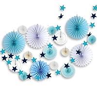 SUNBEAUTY Decorazione per Camera da letto, Carta Azzurra e ghirlanda per Soggiorno Decorazione (17 Pezzi, Blu)