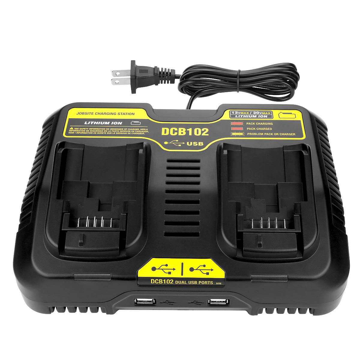 Energup DCB102BP Replacement Charger for DEWALT 12-Volt MAX/20-Volt MAX Jobsite Charging Station DCB102 DCB102BP Dewalt Lithium Battery DCB205-2 DCB204-2 DCB127-2