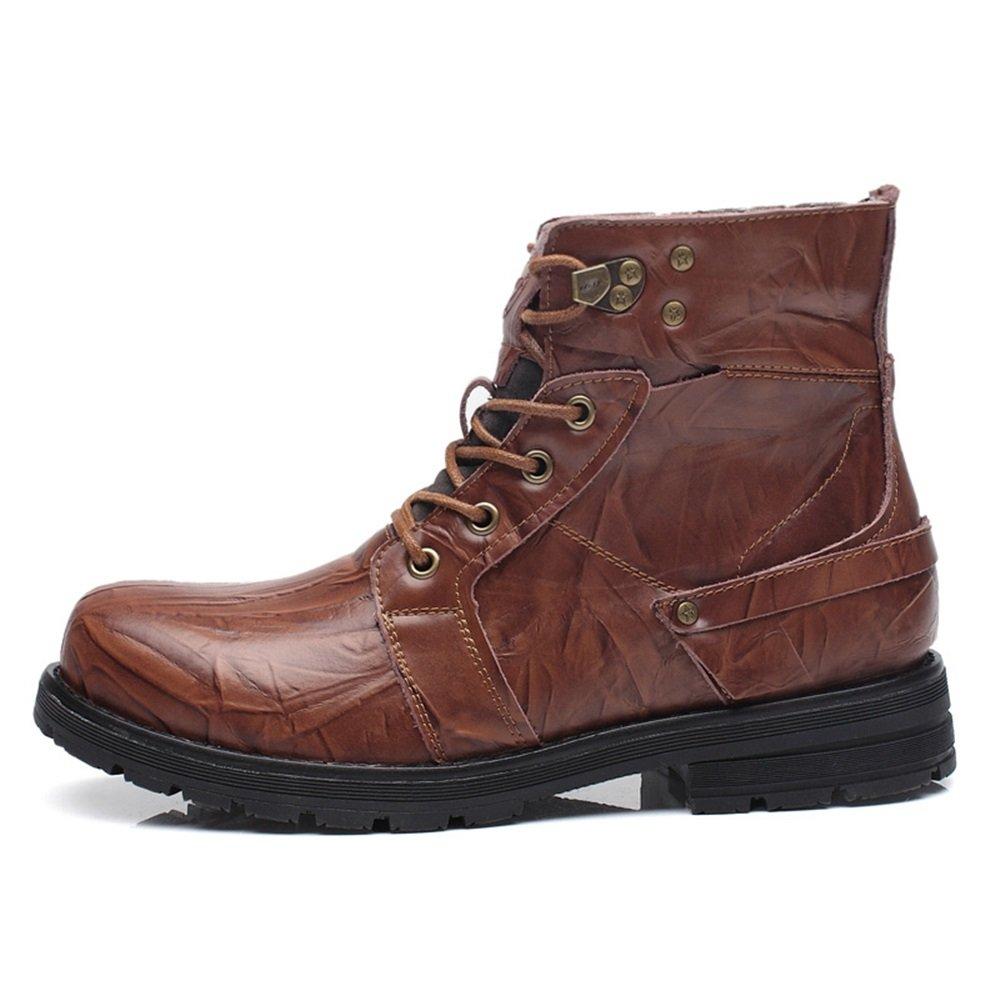 SHANGWU Zapatos de Hombre Spring Martin Boots La Primera Capa de Botas de Cuero Military Boots High Boots Zapatos de Hombre a pie XIAOQI (Color : Marrón, Tamaño : 40) 40|Marrón