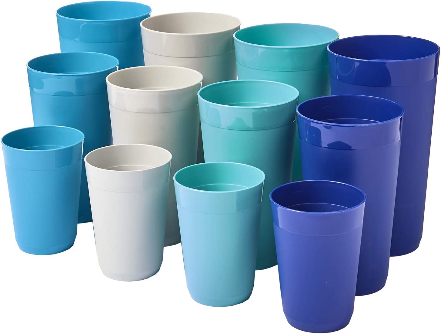 12-Piece Newport Unbreakable Plastic Tumblers | four each 10-ounce, 20-ounce, and 32-ounce in 4 Coastal Colors