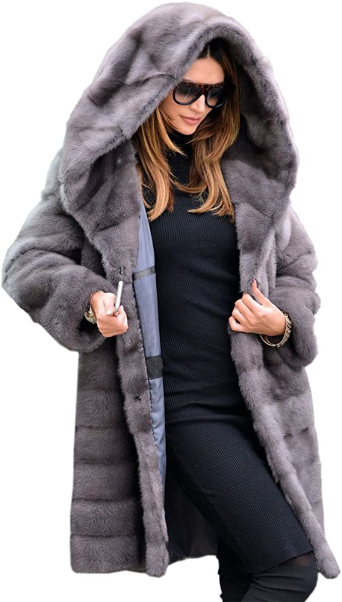 SoTeer Womens Thickened Parka Coat with Removable Fur Hood Warm Winter Faux Fur Lined Jacket
