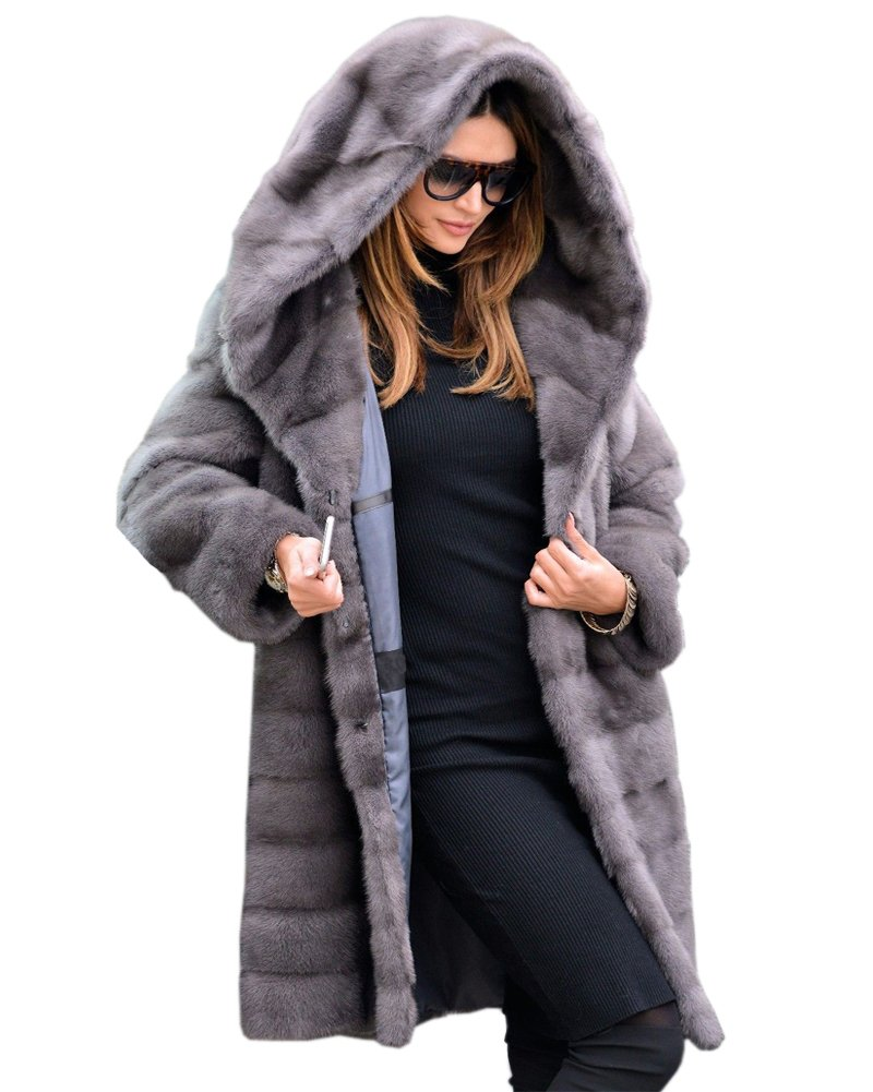 Aofur New Womens Thick Faux Fur Big Hooded Parka Long Overcat Peacoat Winter Coats Jackets (Small, Grey)