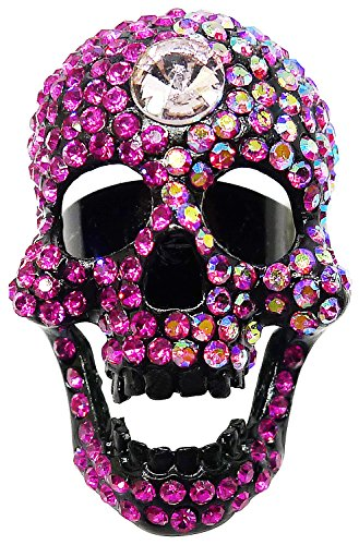 Promo Code For Costumes Express (Bijoux De Ja Black Rhodium Plated Fuchsia Pink Rhinestone Skull Cocktail Adjustable Ring Size 7-8)