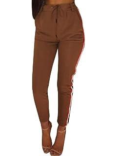 Femme Pantalon Fashion Sports Fitness Pantalon Jogging Taille Haute Style  de fête Mince Cordon De Serrage a63c602546b