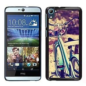 Bicicleta Azul Viñeta Hipster Bike Sun- Metal de aluminio y de plástico duro Caja del teléfono - Negro - HTC Desire D826