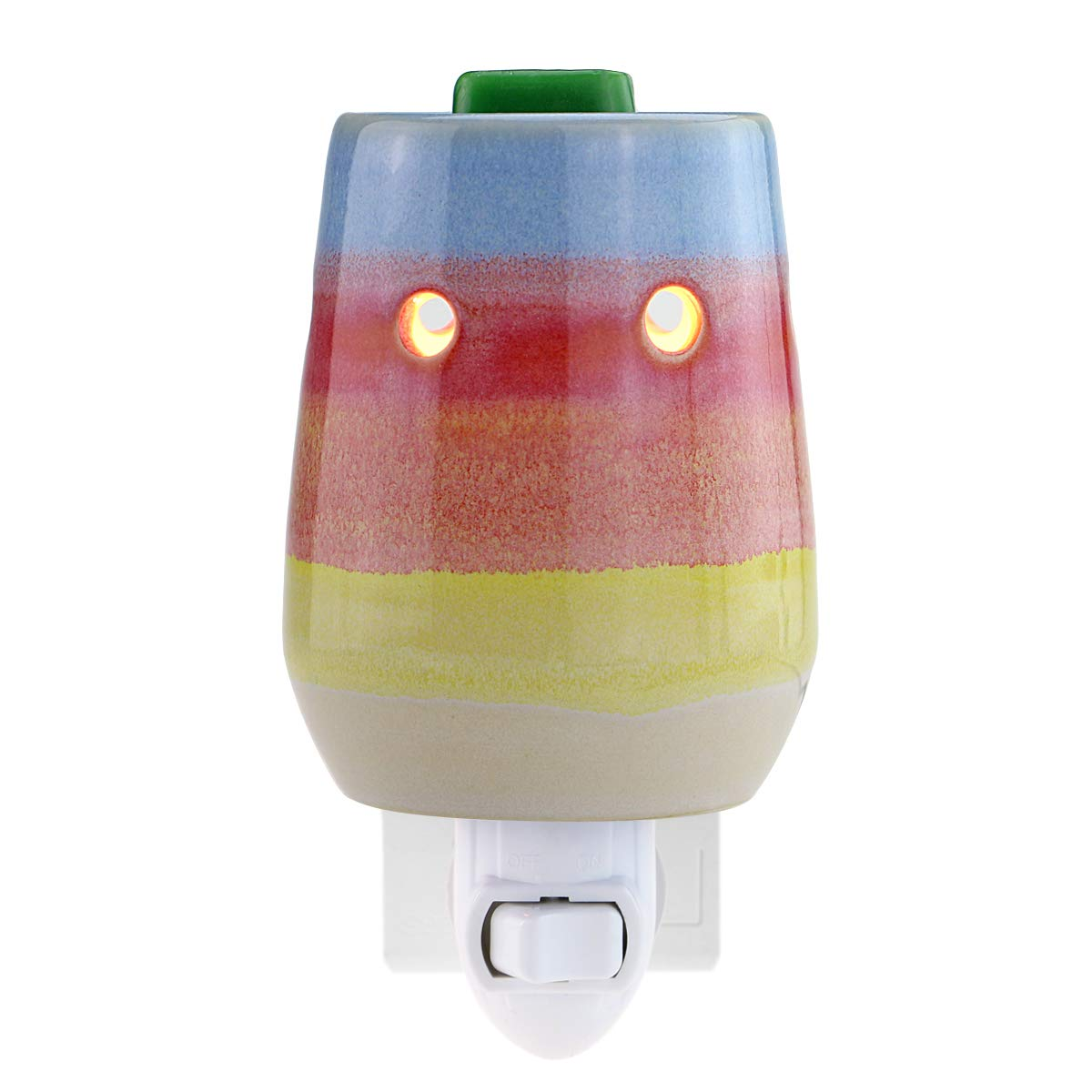 STAR MOON Plug in Wax Melt Warmer, Outlet Wax Warmer for Home Décor, Home Fragrance Diffuser, No Flame, with One More Bulb, Rainbow Stripe
