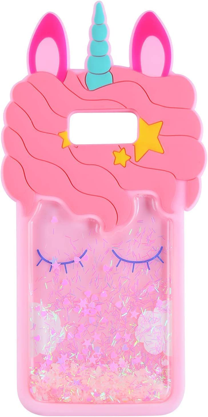 TopSZ Quicksand Unicorn Pink Case for Samsung Galaxy S6,S7,Silicone 3D Cartoon Shiny Animal Glitter Cover,Kids Girls Teen Cool Fun Cute Kawaii Soft Rubber Unique Bling Character Cases for S7/ S6