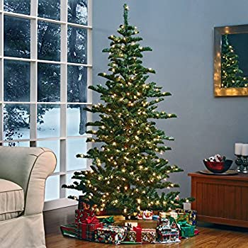 finley home woodland slim pre lit christmas tree clear 9 ft - 9 Foot Slim Christmas Tree