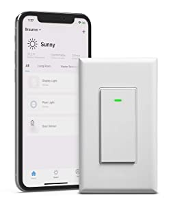 BRAUMM Smart Light Switch, ETL Listed Smart WiFi Single Pole Wall Switch Timer Compatible with Alexa and Google Assistant Voice Control
