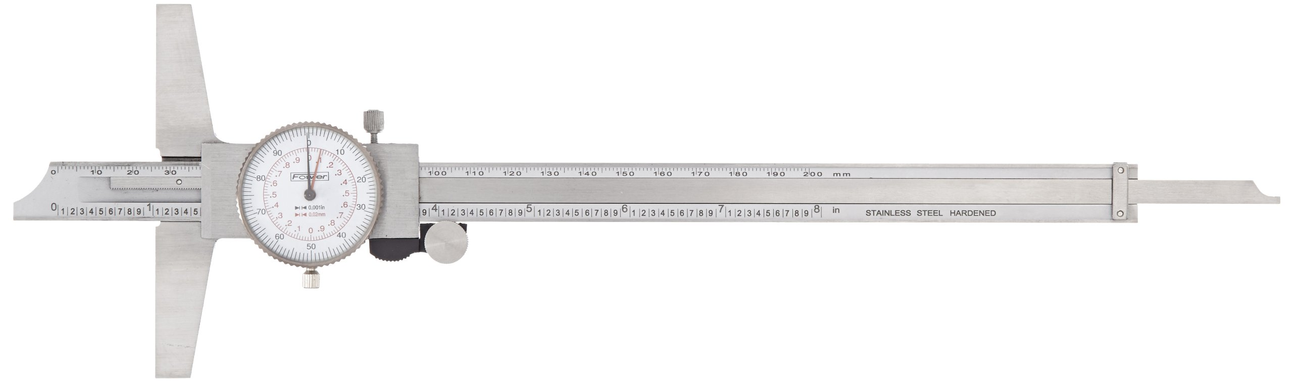 Fowler 52-130-008 Stainless Steel Inch/Metric Dial Depth Gauge, 8''/200mm Measuring Range, 0.001''/0.02mm Resolution